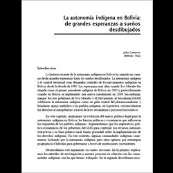 La autonomía indígena en Bolivia: de grandes esperanzas a sueños  desdibujados